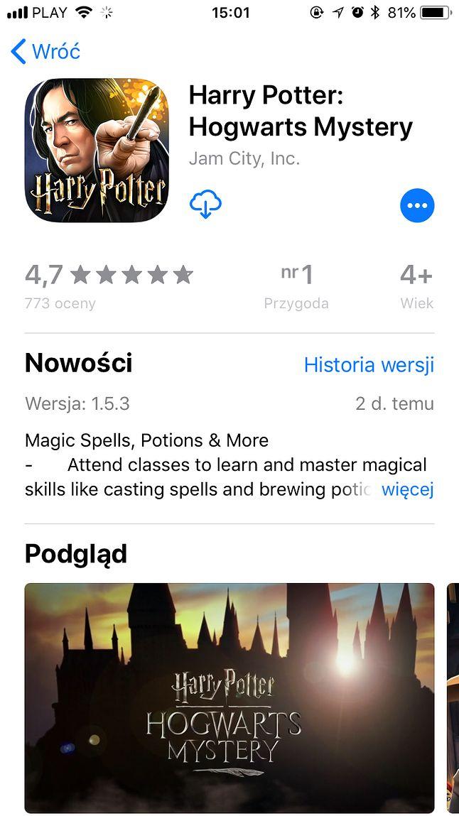 Harry Potter: Hogwarts Mystery ze świetnymi wynikami w App Store.