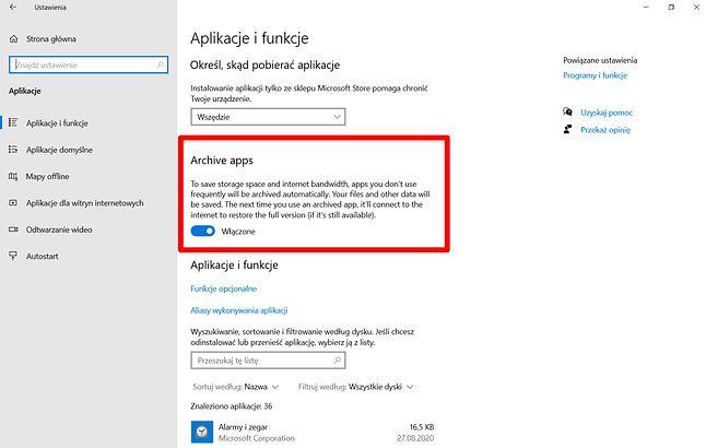 Archiwizacja aplikacji dostępna w Windows 10 dla Insiderów (kanał Dev), fot. Oskar Ziomek.
