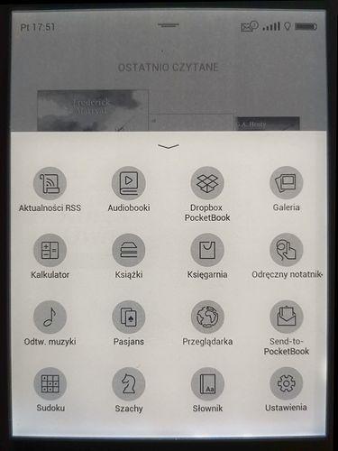 Widok aplikacji. Typowy zestaw dla czytników PocketBook