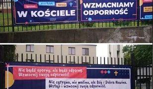 Koronawirus. Katowice. Kontrowersyjne banery na płocie kościoła