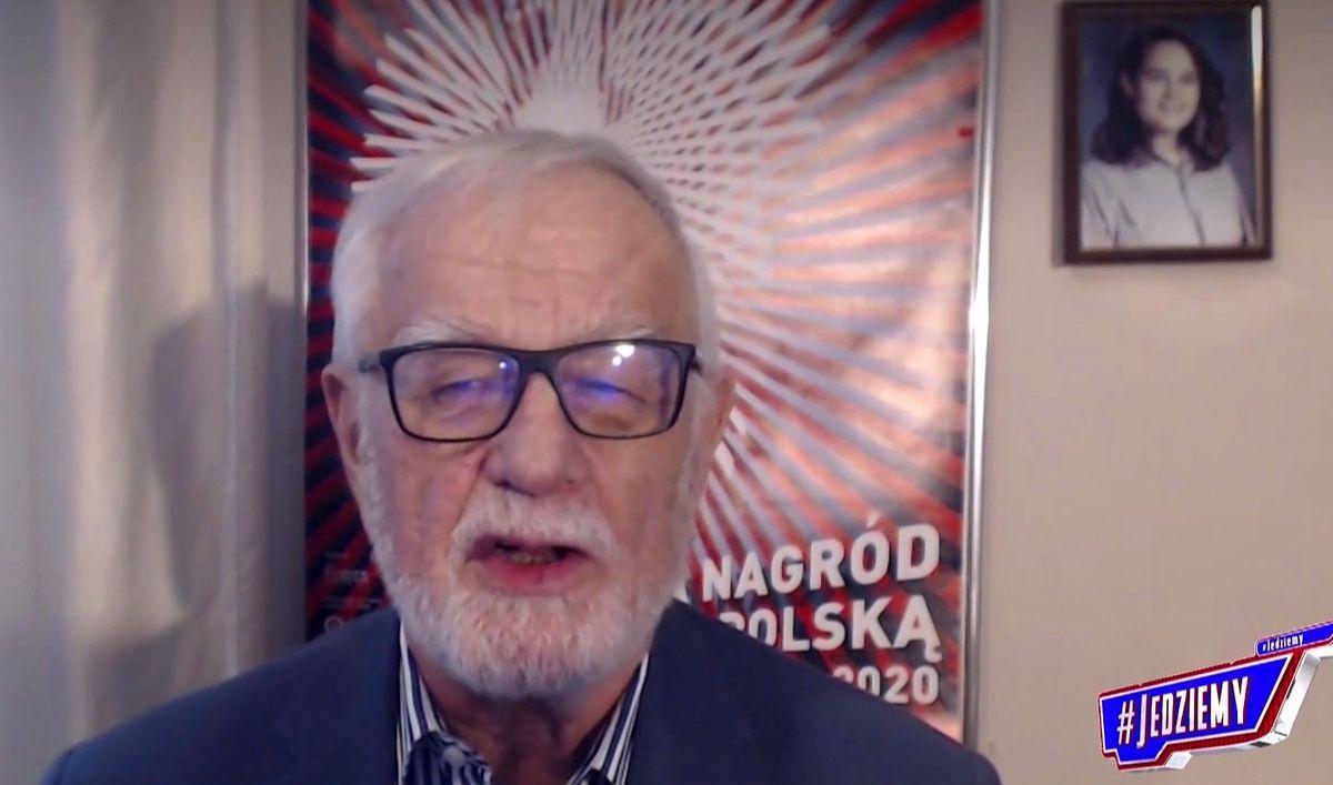 """Jan Pietrzak jest częstym gościem programu TVP Info """"#Jedziemy""""."""