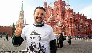 Matteo Salvini na Placu Czerwonym w Moskwie w koszulce z prezydentem Rosji Władimirem Putinem