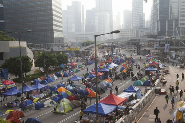 Demonstranci w Hongkongu