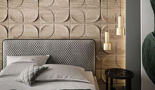 Dekoracyjne panele ścienne drewniane są rozwiązaniem architektonicznym nadającym sypialni ciepła i przytulności, a przy tym oryginalnego designu