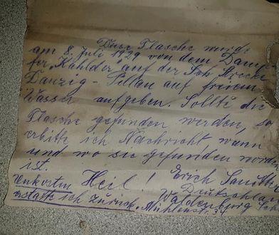 """""""Ta butelka została wrzucona do wody dnia 8 lipca 1929 r. z parowca Kahlberg w drodze z Gdańska do Piławy. Jeśli ta butelka zostanie znaleziona proszę o wiadomość"""" - tak internauci przetłumaczyli treść listu"""