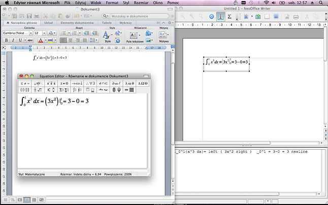 Equation Editor po lewej, NeoOffice po prawej