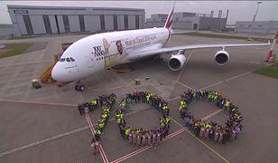 Setnego Airbusa A380 zdobi kalkomania z podobizną Szejka Zajida