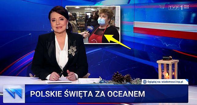 """Świąteczny materiał """"Wiadomości"""" TVP z rozmazanym logiem WOŚP"""