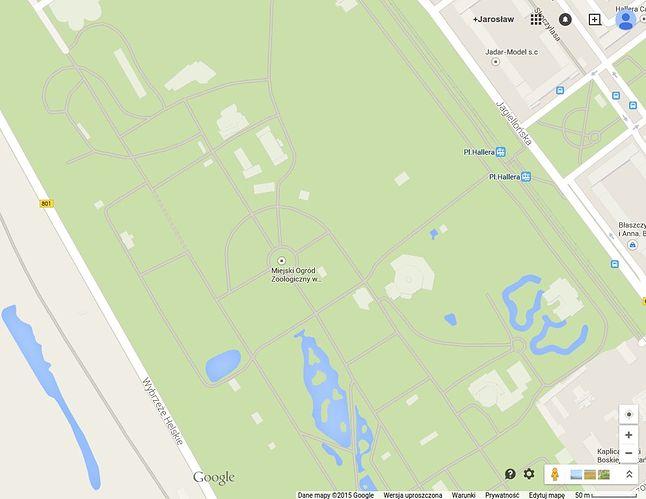 Warszawskie zoo na mapie Google.
