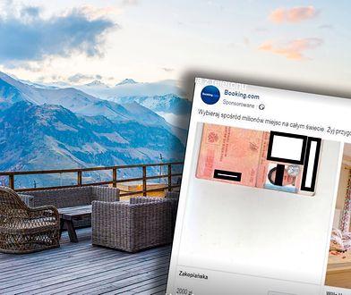 Skan paszportu zamiast zachęcającego wnętrza pokoju reklamuje hotel na Facebooku