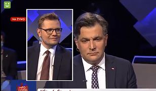 Wiceminister Woś (po lewej) i poseł Kaleta z PiS nie wiedzieli, jak zareagować na pomyłkę redaktora TVP