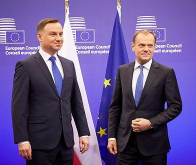 Prezydent Andrzej Duda i przewodniczący Rady Europejskiej Donald Tusk podczas spotkania w Brukseli. Styczeń 2016 r.