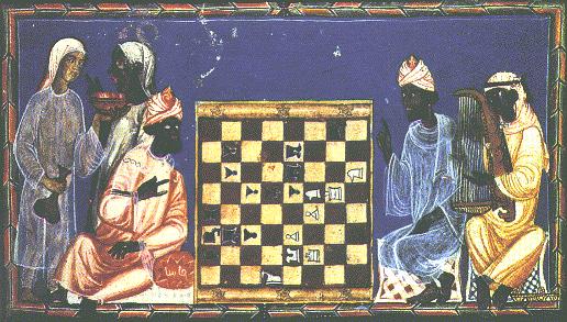 Rycina z XIV wiecznego dworu carskiego przedstawiająca grających szachów.