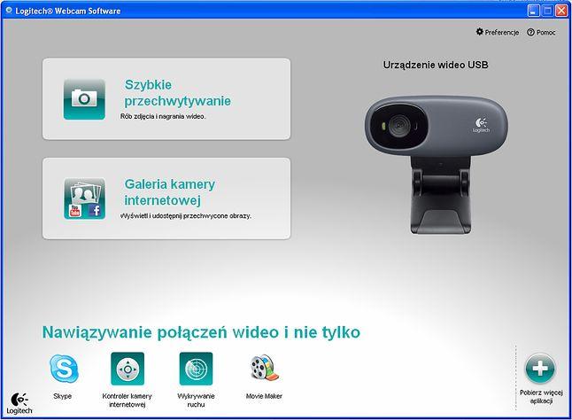 Ekran główny. Robienie zdjęć/filmów, integracja z portalami społecznościowymi czy aplikacjami typu Skype oraz Windows Movie Marker