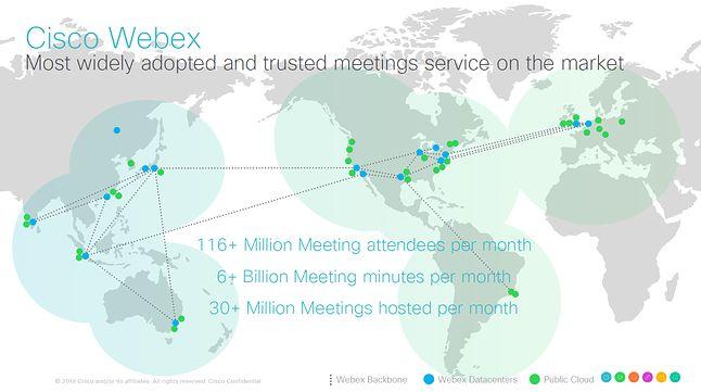 Wykorzystanie Cisco Webex na świecie.