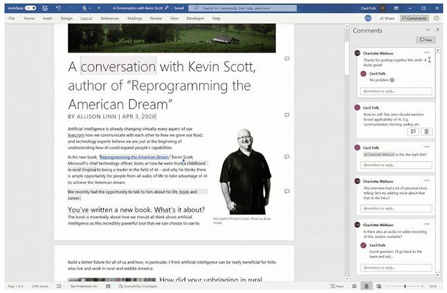 Nowy widok komentarzy w Wordzie, fot. Microsoft.