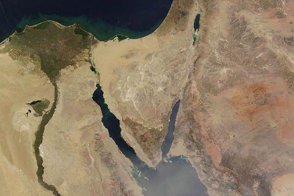 Półwysep Synaj widziany z kosmosu