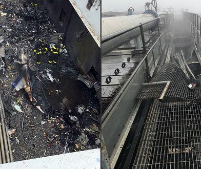 Miejsce, w którym awaryjnie lądował helikopter na dachu wieżowca w centrum Manhattanu w Nowym Jorku