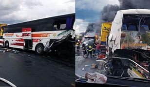 Wypadek na DK1 pod Częstochową. Zderzenie autobusu i ciężarówek. Policja o przyczynie