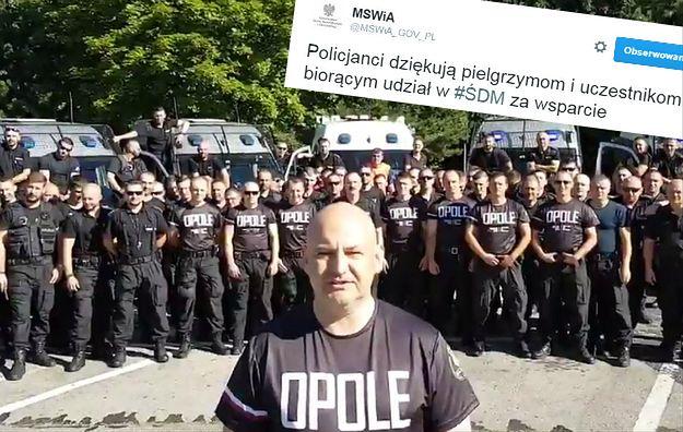 Policjanci z Opola w niesamowity dziękują pielgrzymom za uczestnictwo w Światowych Dniach Młodzieży [WIDEO]