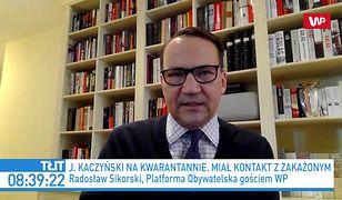 Jarosław Kaczyński na kwarantannie. Radosław Sikorski o fali hejtu pod adresem prezesa PiS