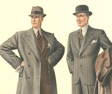 Wytworni przedwojenni dżentelmeni. Ilustracja z katalogu mody męskiej z 1935 roku
