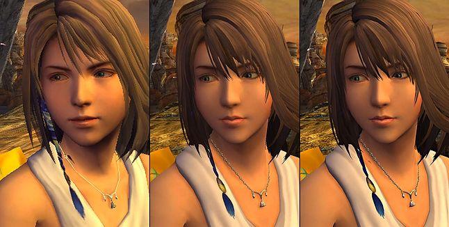 """Po lewej: Yuna z """"Final Fantasy X"""" na PS2, w środku i po prawej: z """"Final Fantasy X HD"""" na PS3 i PS4."""
