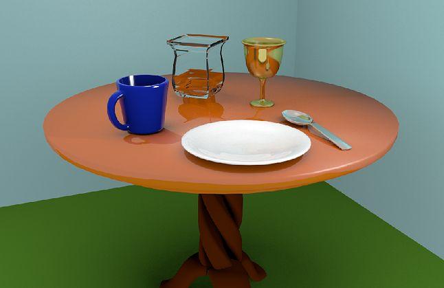 Stół z zastawą z nadanymi materiałami