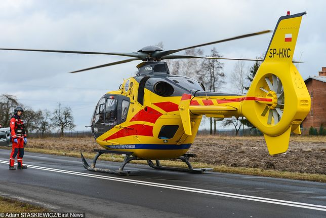 Sokółka. Do wypadku wysłano śmigłowiec Lotniczego Pogotowia Ratunkowego.