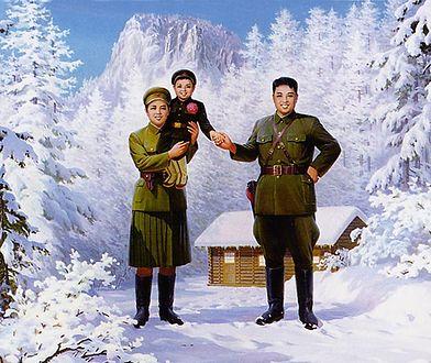 Kim Ir Sen z żoną Kim Dzong Suk i synem Kim Dzong Ilem