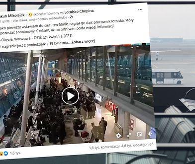 """Grupa Żydów tańczy i śpiewa na Lotnisku Chopina. """"Naród wybrany"""""""