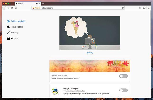 Nowy panel rozszerzeń. Dla Firefoxa 57 dostępnych jest teraz ich ponad 6 tys.