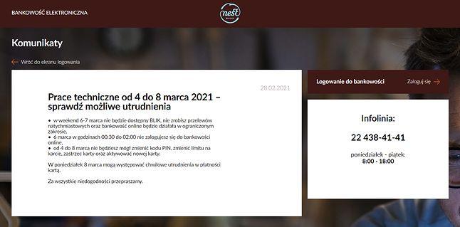 Nest Bank informuje o planowanych pracach na swojej stronie, fot. Oskar Ziomek.