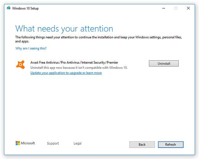 Problem z Avastem podczas instalacji Windowsa 10, źródło: Avast.