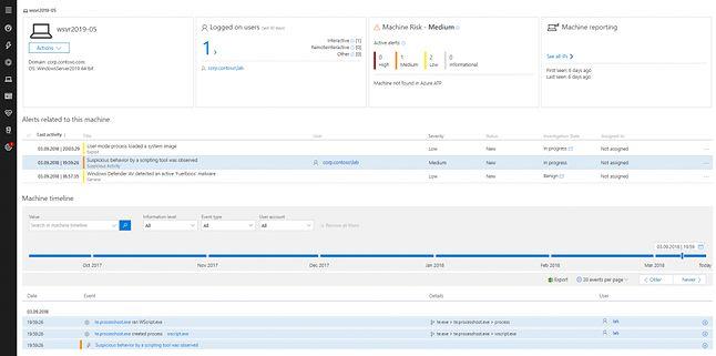 Podgląd opcji w Windows Defender ATP.