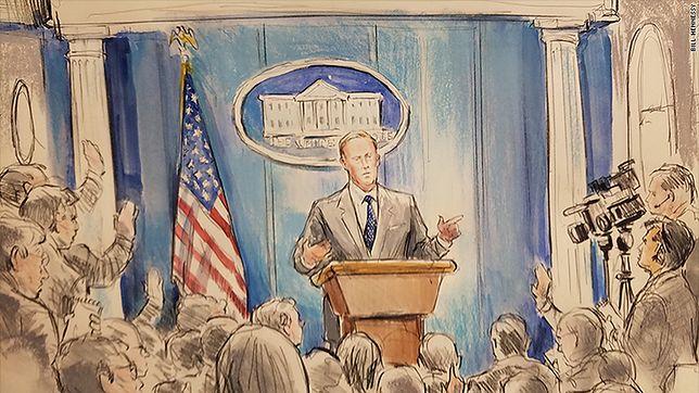 CNN strollowało rzecznika Białego Domu. Zakazał kamer, więc wysłali rysownika sądowego
