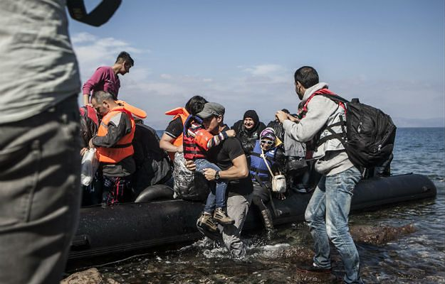 Uchodźcy na Lesbos w październiku 2015