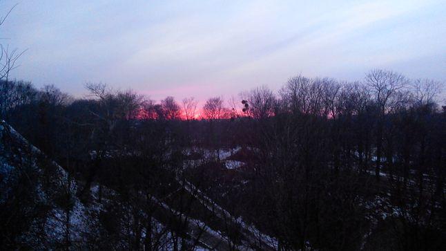 Widok na zachód słońca z Góry Gradowej w Gdańsku.
