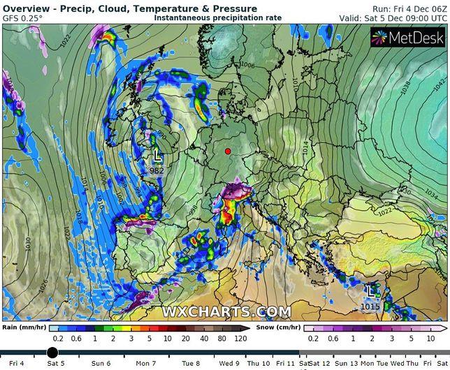 Pogoda. Alerty IMGW przed silnym wiatrem (Il. wxcharts.com)