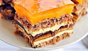 Słoneczna Delicja - ciasto z delicjami, bakaliami i brzoskwiniami