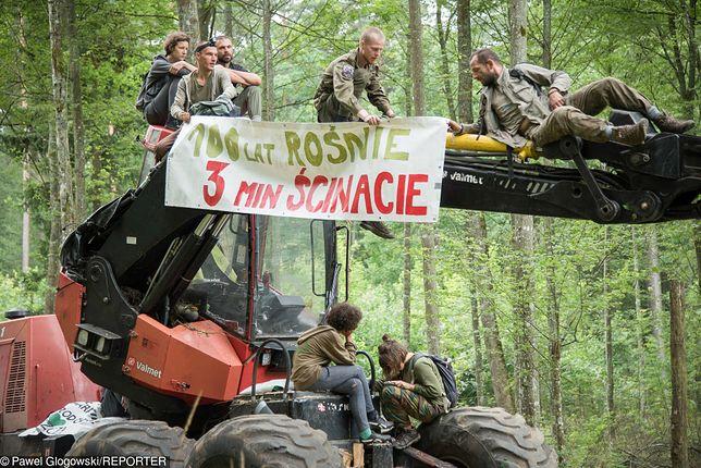 Blokada harwestera i forwardera przez Obóz dla Puszczy, sierpień 2017