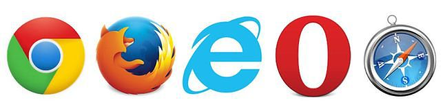 Ekran wyboru przeglądarek (Chrome, Firefox, IE, Opera i Safari)