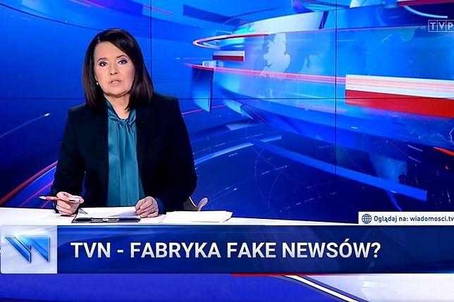 """Taki tytuł nosił jeden z krytycznych materiałów """"Wiadomości"""" wobec TVN."""