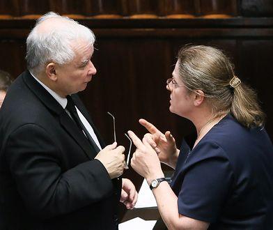 Prezes PiS Jarosław Kaczyński i posłanka Krystyna Pawłowicz