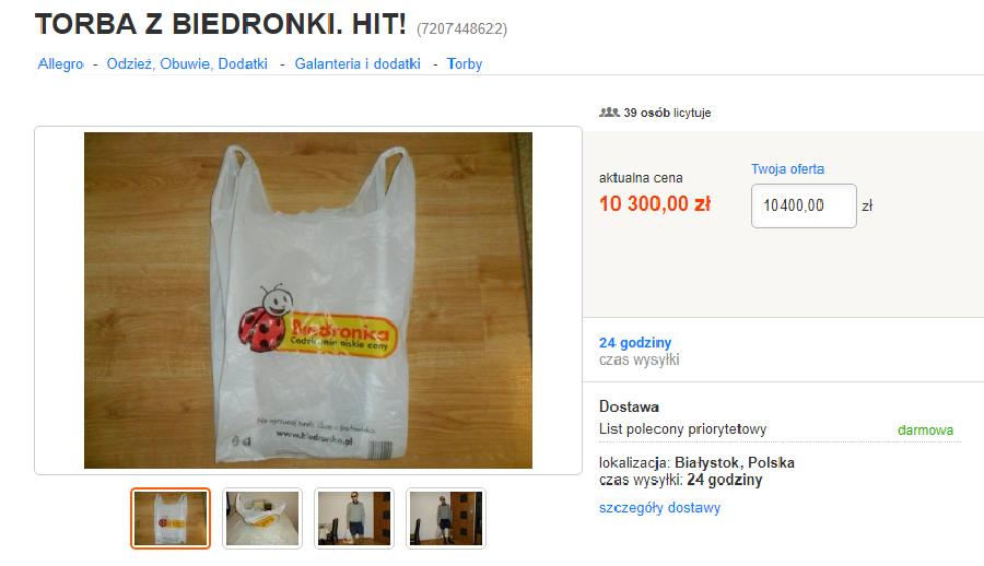 6ea1e9cc88dfa W momencie pisania tego tekstu cena torby wynosiła 10 300 zł. Do końca  aukcji zostały jednak jeszcze cztery dni, więc można przypuszczać, że  internauci nie ...