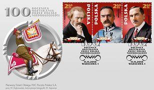 Znaczki przedstawiają między innymi portrety ojców polskiej niepodległości