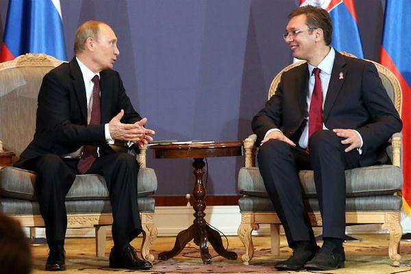 Prezydent Władimir Putin i premier Aleksandar Vucic. Belgrad, Serbia.