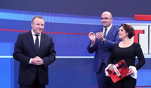 Prezes TVP Jacek Kurski, szef TAI Jarosław Olechowski i dziennikarka Edyta Lewandowska