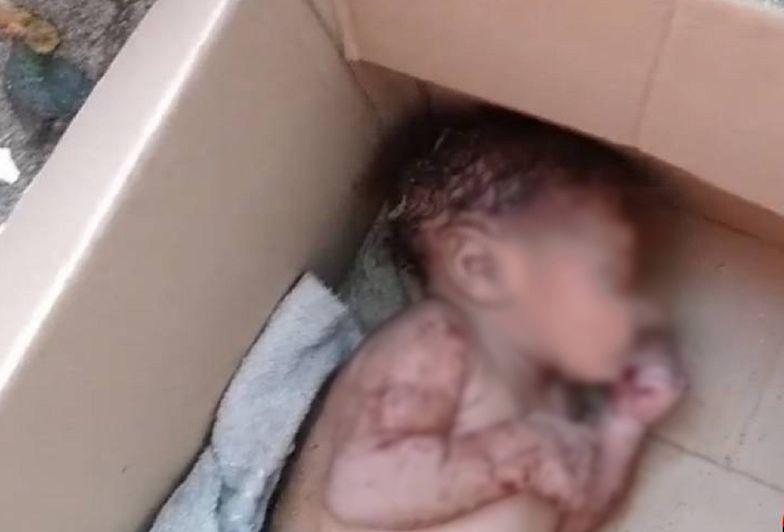 Noworodek w kartonowym pudle. Zostawiony na środku chodnika