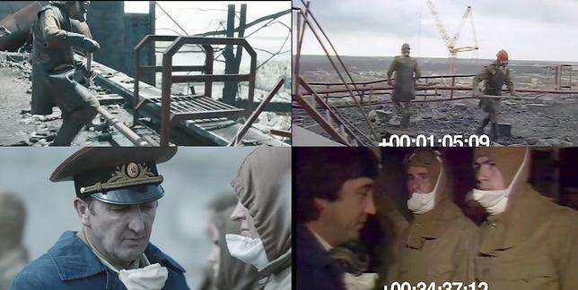 """Po lewej: kadry z serialu """"Czarnobyl"""". Po prawej: nagrania archiwalne"""
